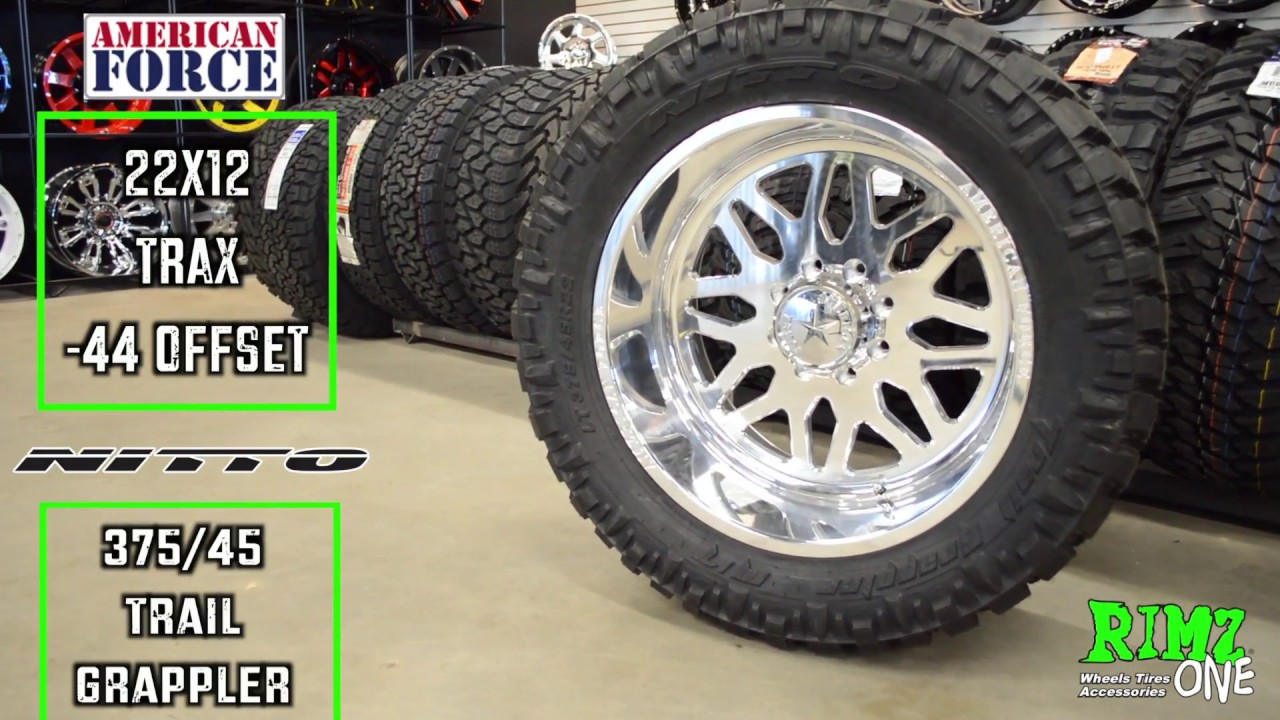 Nitto Grappler Mt >> 22x12 American Force TRAX w/ 375/45R22 Nitto Trail ...