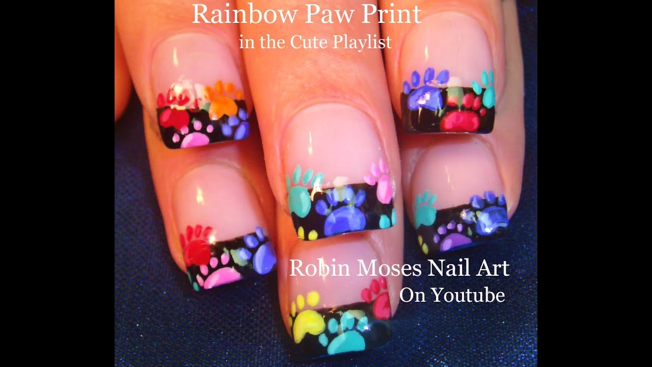Nail Art | EASY Rainbow Animal Paw Print Nails Design Tutorial - YouTube - Nail Art EASY Rainbow Animal Paw Print Nails Design Tutorial