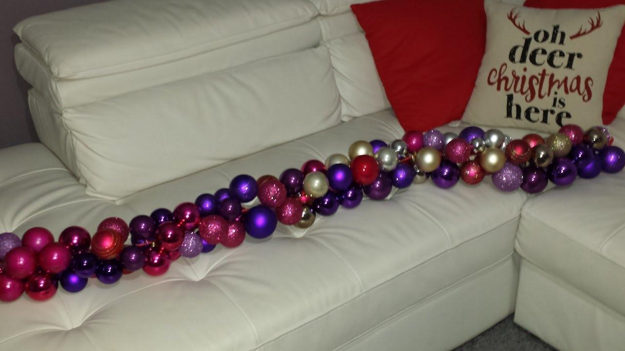 Christmas Décor- DIY Christmas Ball Garland (Christmas Decorating Ideas) - YouTube
