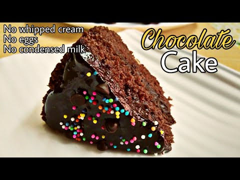Eggless Chocolate Cake In Cooker | Easy Spongy Cake Recipe | Without Oven And Condensed Milk