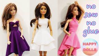 Easy DIY 👗 doll clothes no sew no glue | HAPPY DOLLS #Barbie #DIY #crafts