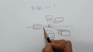 기초 스케치 / 1점 투시 / 투시도법 직육면체 그리기