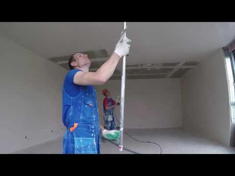 видео: 900м2 в смену!! Шпаклевание потолков по бетону! Первый слой.