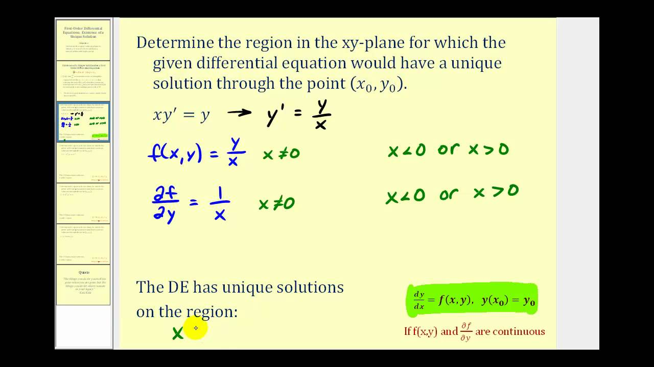 Find the Region a First Order Differential Equation Has a ...