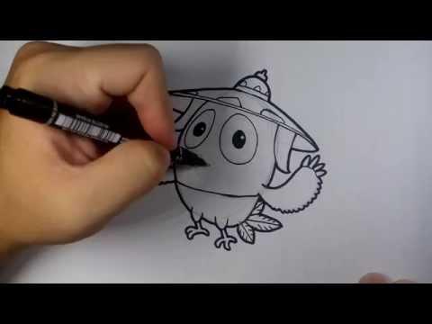 นก จิ๊ดริด จาก การ์ตูน ก้านกล้วย วาดการ์ตูน กันเถอะ สอนวาดรูป การ์ตูน