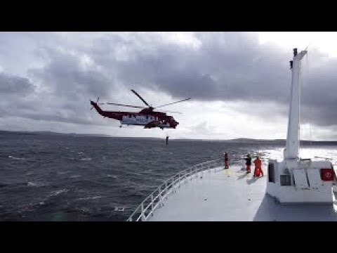 SAR Rescue Hi-Line practise, winching a man off vessel deck, with Celtic Explorer 2011