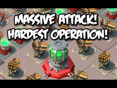 Boom Beach MASSIVE ATTACK! - HARDEST Operation | 1674% HEALTH CRAZY BASE! | Task Force Operation