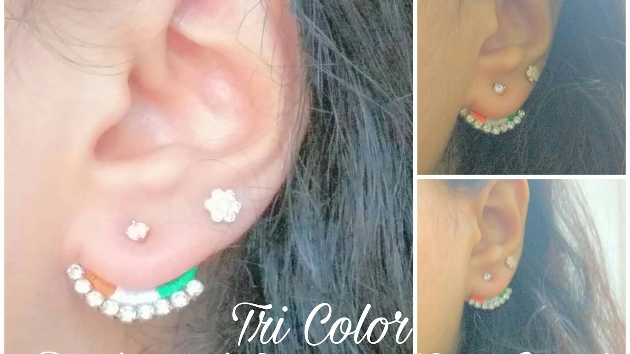How To Make Paper Base Back Stud Earring Ear Cuff At Home Tutorial