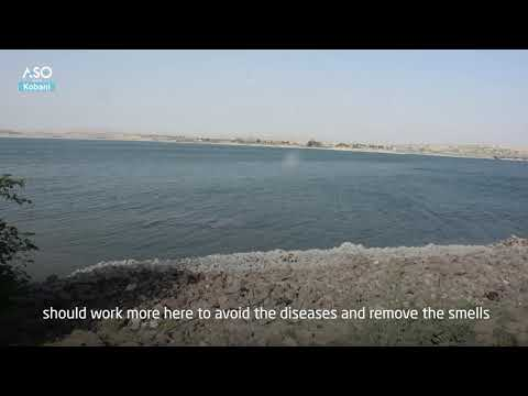 The drop in the water level of the Euphrates River to its lowest