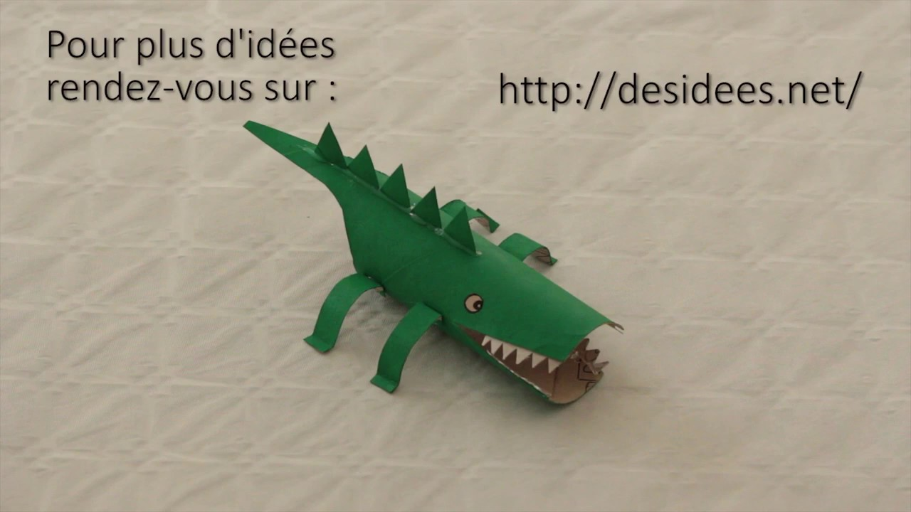 diy faites un crocodile avec un rouleau de sopalin youtube. Black Bedroom Furniture Sets. Home Design Ideas