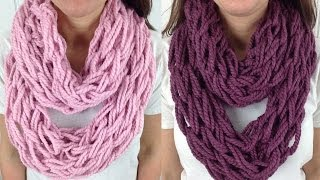 Repeat youtube video 30 Minute Arm Knit Infinity Scarf Cowl with Lion Brand Wool Ease - Left Handed