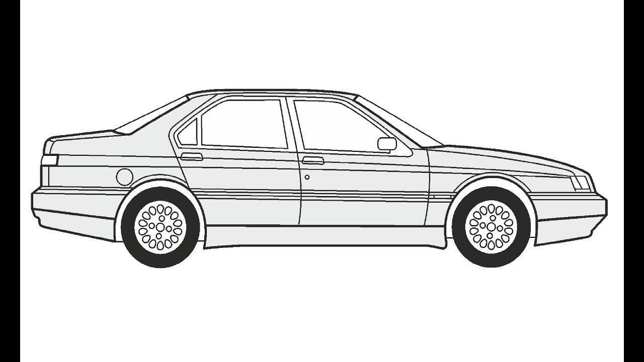 How to Draw an Alfa Romeo 164 / Как нарисовать Alfa Romeo
