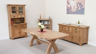 Country Oak 230cm Cross Leg Oak Dining Table From Top Furniture