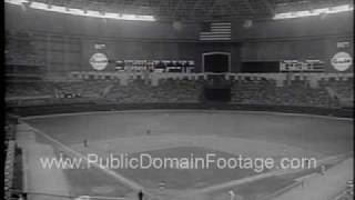 Baseball Opening Day 1965 Astrodome and LBJ First Pitch Newsreel PublicDomainFootage.com