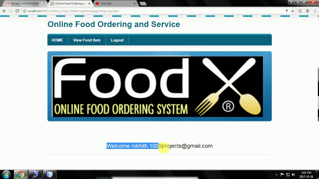 Online Food Ordering and Service Java Project