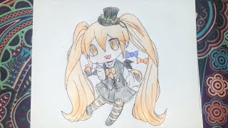How to draw a anime gothic girl in a halloween costume! (Chibi style) - Easy and quick - DiyaCake