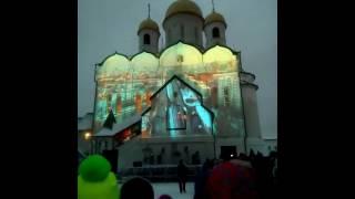Лазерное шоу на фазад храма Иоана Богослова.