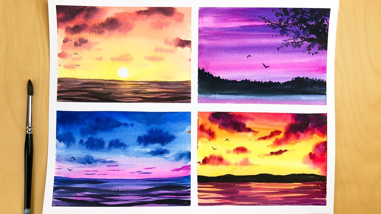 4 Type Of Sunset Paintings Watercolor Sunset Painting For Beginners Watercolor Painting Youtube