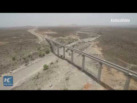 Aerial view of Chinese-built Ethiopia-Djibouti railway