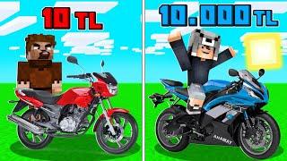 1 TL MOTOSİKLET VS 10.000 TL MOTOSİKLET! 😱 - Minecraft