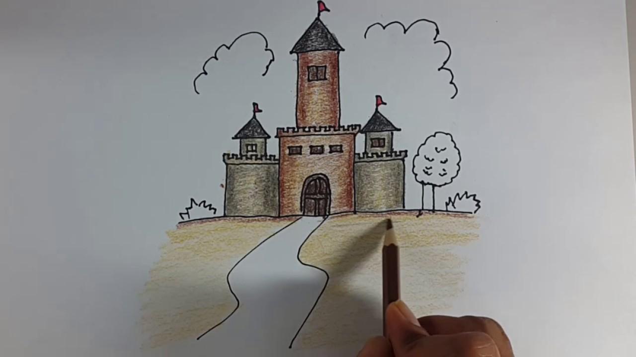 Cara Menggambar Dan Mewarnai Istana Dongeng Dengan Mudah Menggunakan Pensil