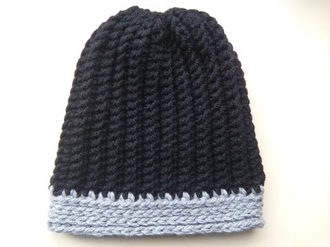 Crochet Mens Ribbed Hat