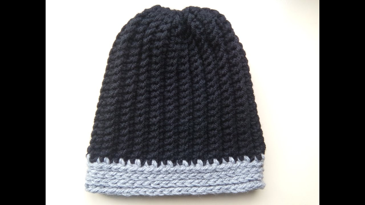 crochet men\'s ribbed hat - YouTube