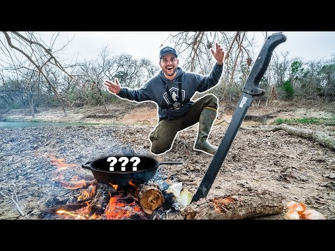 CAMPING on a ISLAND with NO FOOD!!! (CATCH CLEAN COOK)