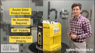 Double-Sided Countertop Product Display Unit - Ships flat, Self Assembles Instantly, 360° Visibility