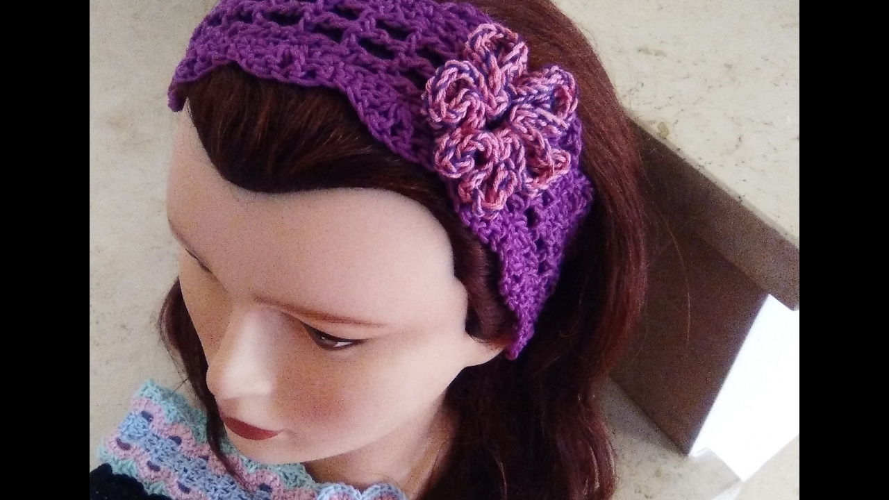 Crochet Headband All Sizes With Flower English Tutorial Youtube