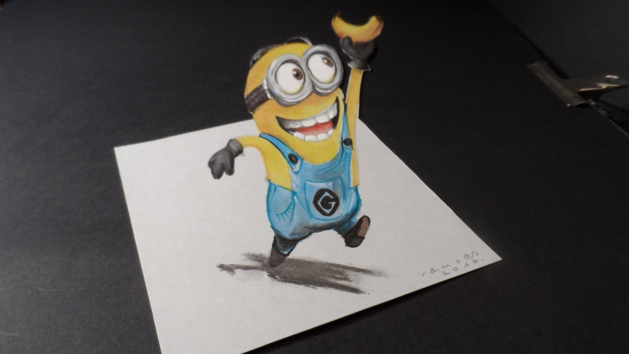 How To Draw 3d Minion Drawing 3d Minion And Banana Trick Art