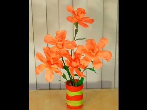 very attractive design flower vase. Fully Recycled DIY  How to convert waste bottles into a beautiful FLOWER VASE