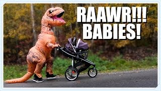 As strange as it may seem, a T-rex pushing a baby in our neighborho...