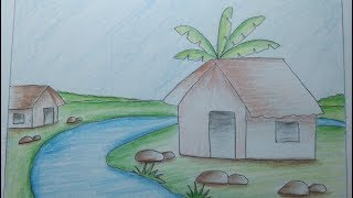 How to draw a beautiful landscape step by step