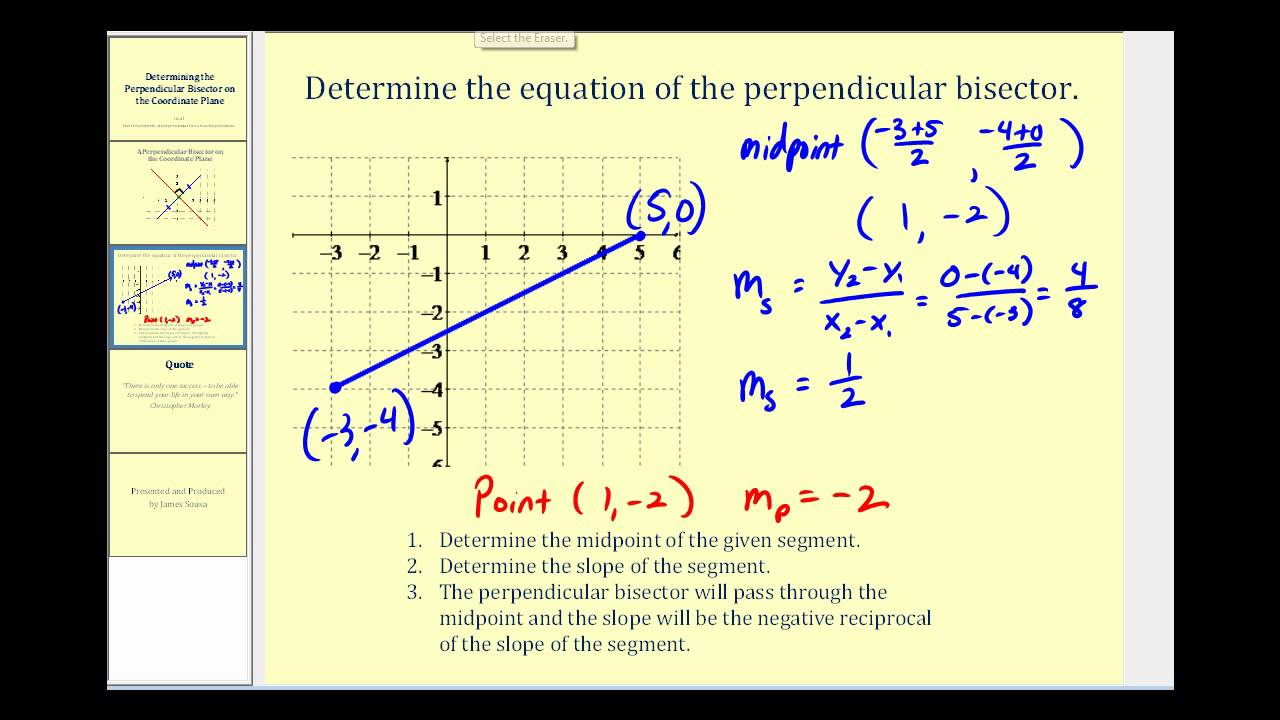 Perpendicular bisector of a segment on the coordinate plane youtube falaconquin