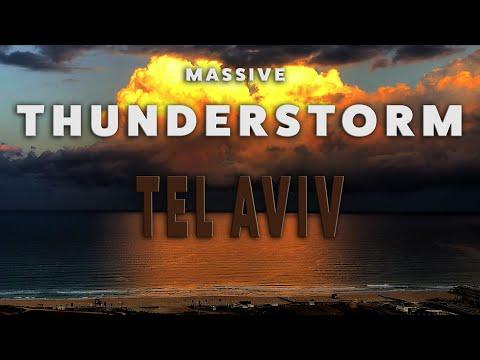 Massive Thunderstorm Over Tel Aviv Israel HD