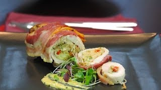 Italian Food Recipes Chicken Rolls with Pancetta Stuffed with Artichokes, Bell Peppers and Capers