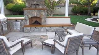 Sacramento Outdoor Kitchen And Fireplace W/ Awning And Custom Bench By Gpt Construction