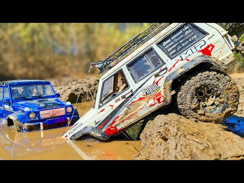 RC Cars MUD OFF Road 4x4 Jeep Cherokee vs Mercedes G63