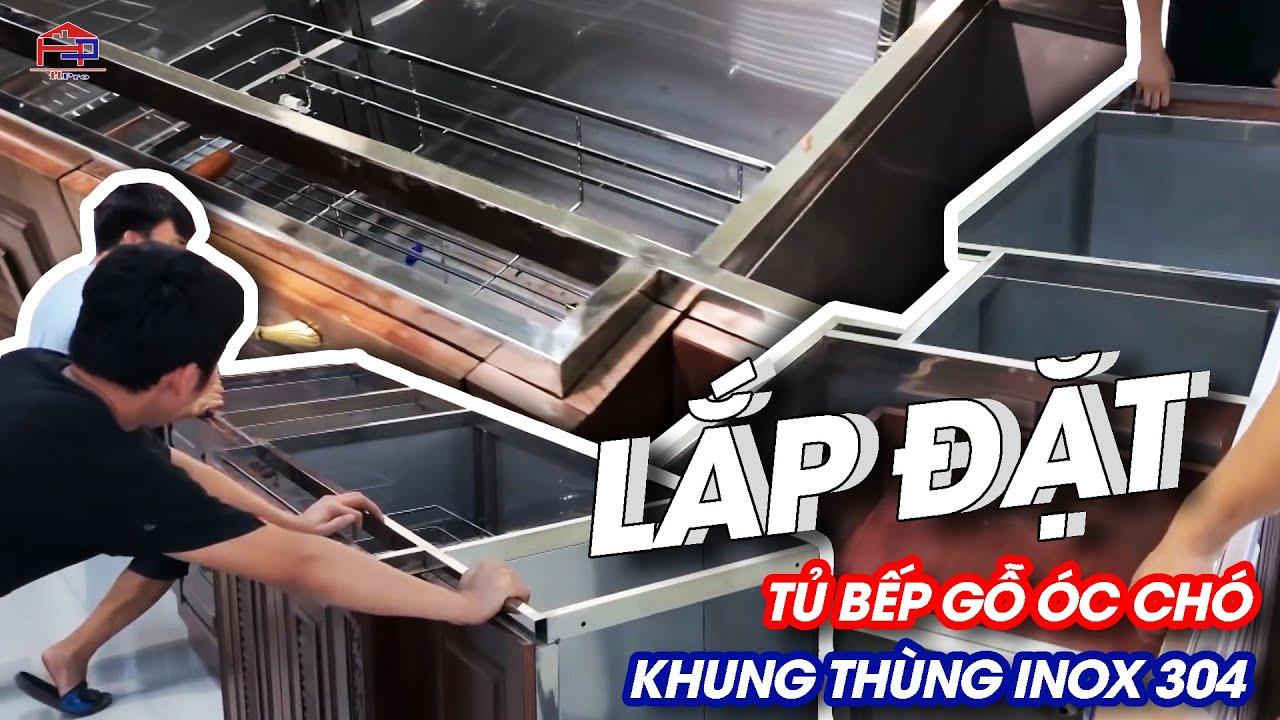 Cận cảnh lắp đặt tủ bếp gỗ óc chó thùng inox 304 tại Phường Gia Cẩm, Tp.Việt Trì
