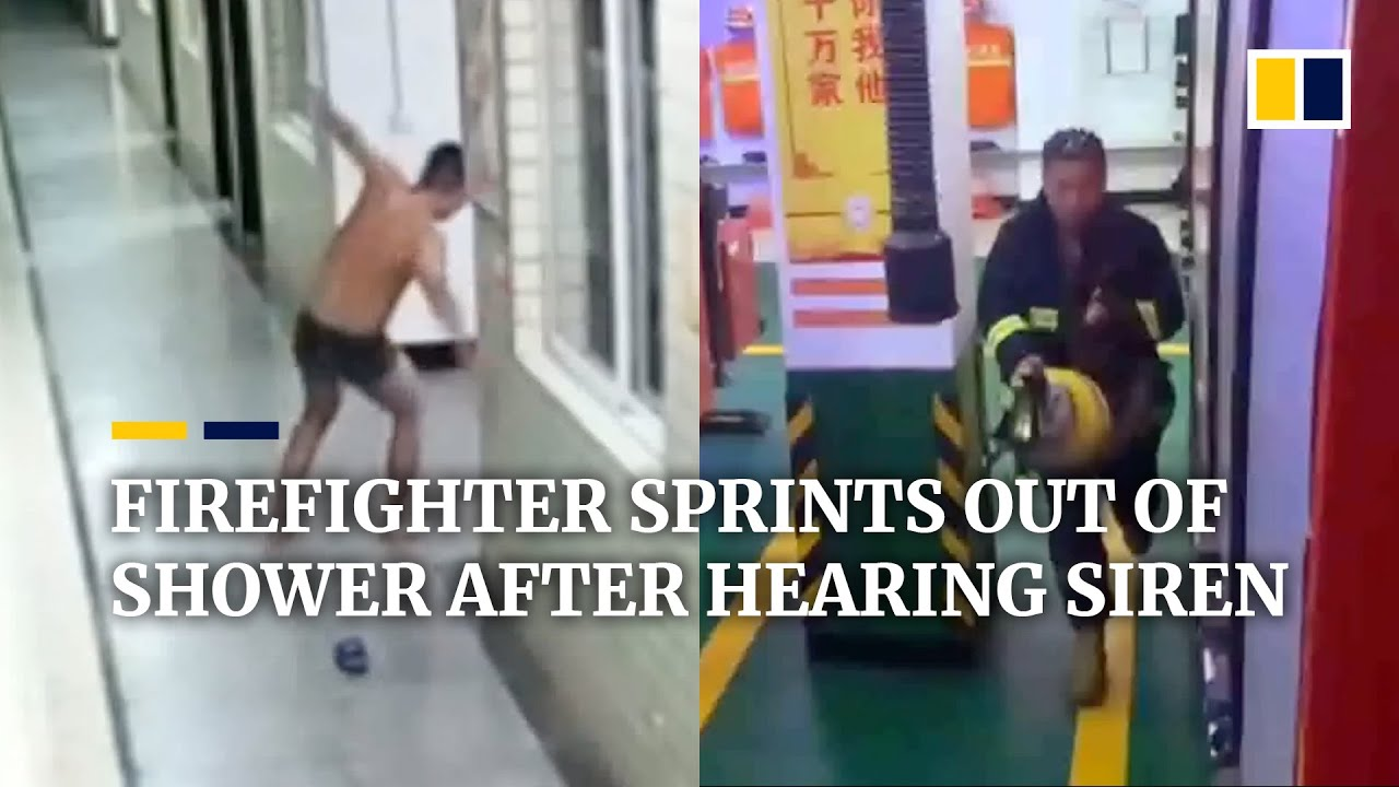 Download Chinese firefighter sprints out of shower after hearing emergency siren