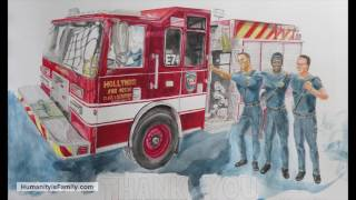 Watercolor Painting as Gift to Firefighters