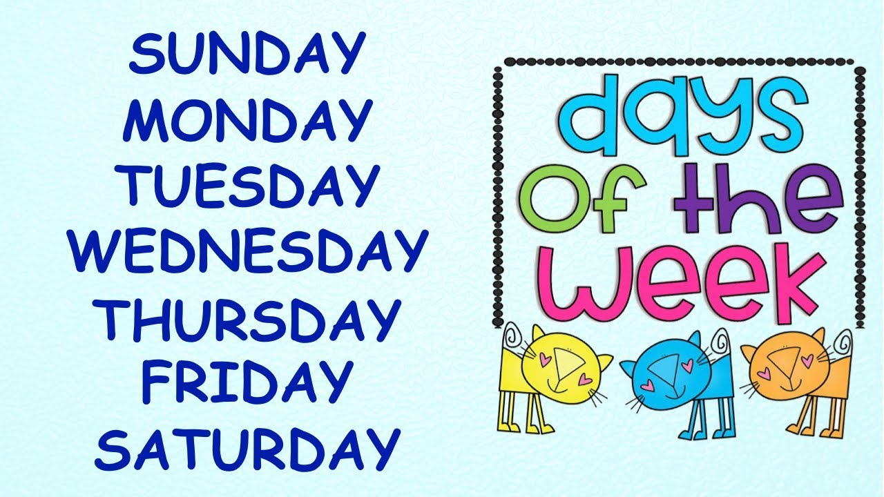 Download Days of the Week    With spellings   Slow Version for Kids to learn Spellings Easily  Days in a week