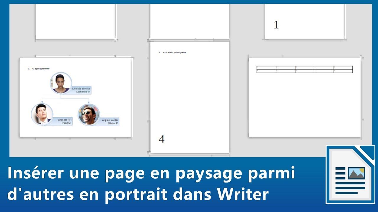 Insérer En Paysage Une Page Parmi D Autres En Portrait Dans Writer De Libreoffice