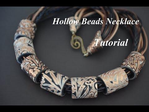 DIY polymer clay hollow cylinder beads necklace Fimo tutorial колье из полимерной глины collier