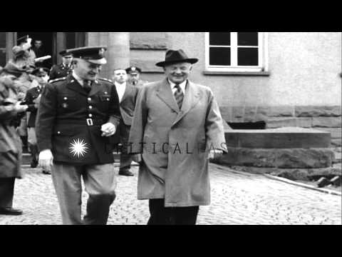 US Senator Harry F Byrd and General Miles Reber enter Panzer Kaserne Headquarters...HD Stock Footage