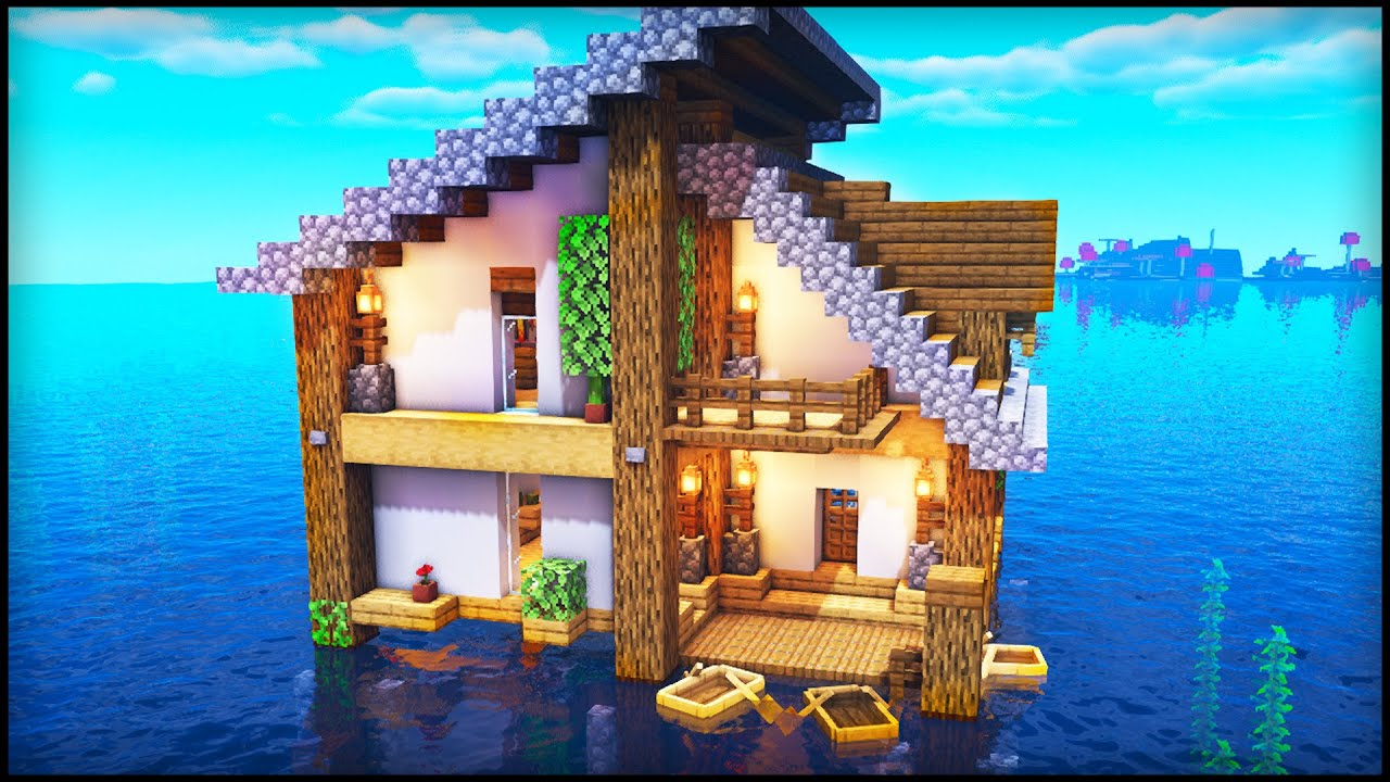 Minecraft Survival Water House: How to build a House on ...
