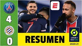 PSG 4-0 Montpellier. GOLES de Icardi, Neymar y Mbappé. Di María orquestó tremendo GOLAZO. | Ligue 1