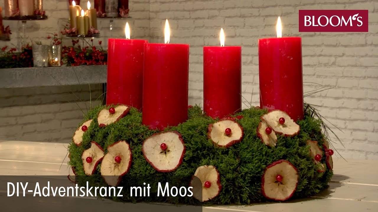 diy adventskranz mit moos youtube. Black Bedroom Furniture Sets. Home Design Ideas
