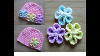How to crochet Flower for basic baby hat - Happy Crochet Club